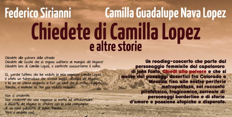 """Reading musicale """"CHIEDETE DI CAMILLA LOPEZ E SENTIRETE SUSSURRARNE IL NOME"""""""
