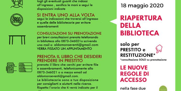18 maggio- La Biblioteca riapre in sicurezza